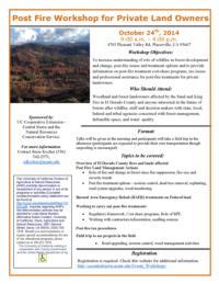 Post Fire Workshop Details and Registration Information