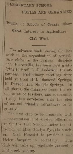 Article from Mountain Democrat January 17th, 1918